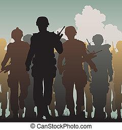 στρατεύματα , περίπατος