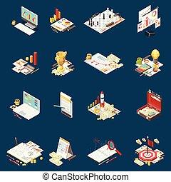 στρατηγική , isometric , θέτω , επιχείρηση , εικόνα