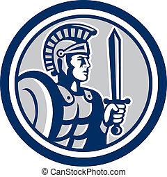 στρατιώτης , centurion, ρωμαϊκός , ξίφος , retro