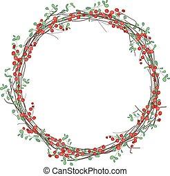 στρογγυλός , διακοπές χριστουγέννων γιρλάντα , με , λιόπρινο...