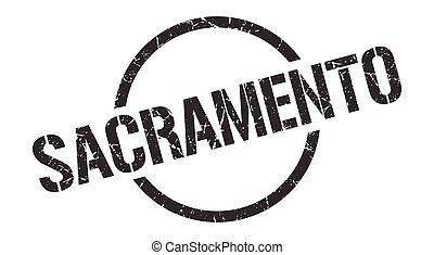 στρογγυλός , grunge , sacramento , απομονωμένος , σήμα ,...