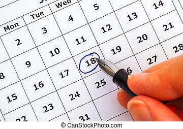 στυλό μελάνης , μέσα , γυναίκα , χέρι , βαθμολόγηση , ημέρα , επάνω , ημερολόγιο
