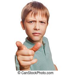 συγκίνηση , αγόρι , δικός του , θυμωμένος , απομονωμένος , κακό , μεγάλος , δάκτυλο , φόντο , αγαθός αλεξήνεμο , αποδεικνύω