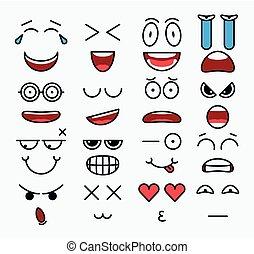 συγκίνηση , διαφορετικός , στοιχεία , μικροβιοφορέας , κατασκευαστής , χαμόγελο , σχεδιάζω