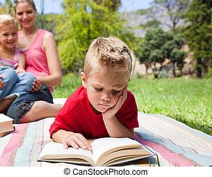 συγκεντρωμένος , αγόρι ανάγνωση , ξανθή