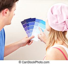 συγκεντρωμένος , δωμάτιο , χρώμα , σπίτι , ζευγάρι , δικό τουs , αποφασίζω , καινούργιος