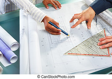 συζήτηση , πάνω , αρχιτεκτονική , σχεδιάζω