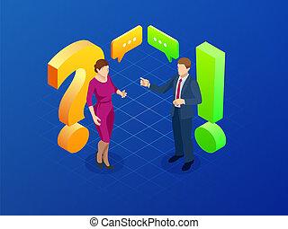 συζήτηση , concept., μικροβιοφορέας , άντραs , απαντώ , γυναίκεs , ερώτηση , isometric , εικόνα
