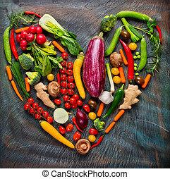 συλλογή , από , άβγαλτος από λαχανικά , μέσα , αγάπη...