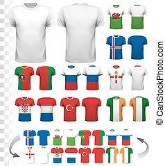 συλλογή , από , διάφορος , ποδόσφαιρο , jerseys., ο ,...