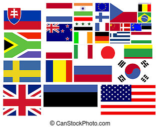 συλλογή , από , κόσμοs , σημαίες