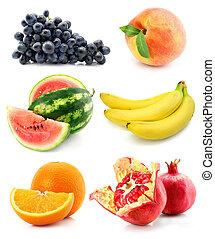 συλλογή , από , φρούτο , απομονωμένος , αναμμένος αγαθός