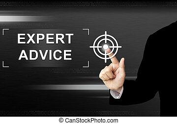 συμβουλή , επιχείρηση , ειδικός , κουμπί ανοίγω δρόμο σπρώχνοντας , χέρι , άγγιγμα αλεξήνεμο