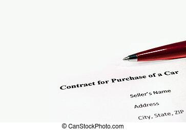 συμβόλαιο , για , αγοράζω , από , ένα , αυτοκίνητο