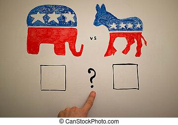 συμπίπτων , πολιτική , concept., δημοκράτης , vs , republicans , elections.