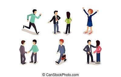 συνάδελφος , άντρεs , δουλειά , αρμοδιότητα ακόλουθοι , θέτω , ανακοινώνω , επιτυχία , εικόνα , μικροβιοφορέας , αγαλλίαση , φόντο , άσπρο , συνάντηση , βία , γυναίκεs