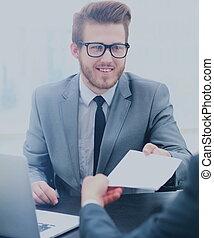 συνάδελφος , γραφείο , χορήγηση , χαρτί , hos, επιχειρηματίας