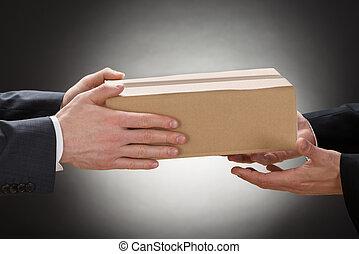 συνάδελφος , κουτί , δικός του , χορήγηση , επιχειρηματίας