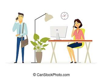 συνάδελφος , μοντέρνος , ακολουθία ακόλουθοι , δουλειά , - , εικόνα , γράμμα , γελοιογραφία