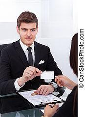 συνάδελφος , χορήγηση , κάρτα , επιχείρηση , επιχειρηματίας