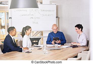 συνέδριο , σύνολο , δωμάτιο , αρμοδιότητα ακόλουθοι , μαζί , γέλιο