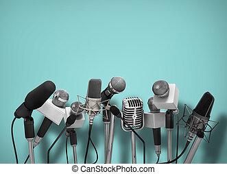 συνέντευξη τύπου , microphones., ακάθιστος
