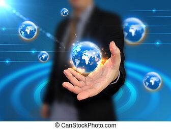 συνδεδεμένος , κράτημα , επιχειρηματίας , κόσμοs