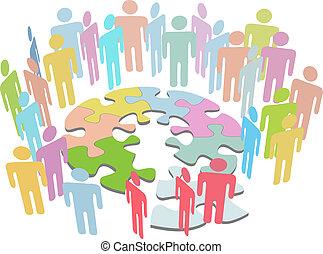 συνεργάζομαι , άνθρωποι , γρίφος , διάλυμα , λύνω , πρόβλημα , βρίσκω