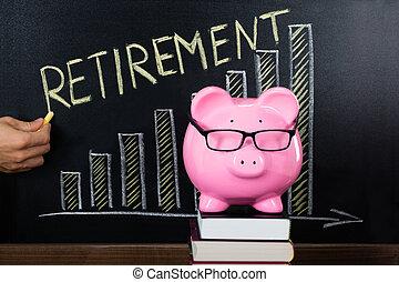 συνταξιοδότηση , γενική ιδέα , σχέδιο , μαυροπίνακας