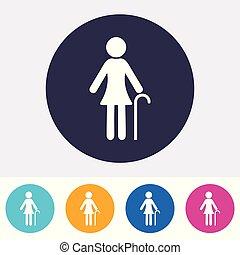 συνταξιούχος , μικροβιοφορέας , γυναίκα , εικόνα , σήμα