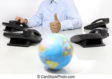 σφαίρα , και , αρέσω , χέρι , με , γραφείο , τηλέφωνο , αναμμένος αναλόγιο , καθολικός , διεθνής , υποστηρίζω , γενική ιδέα