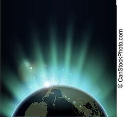 σφαίρα , κόσμοs , πάνω , ξαφνική δυνατή ηλιακή λάμψη