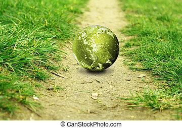 σφαίρα , μέσα , ο , πράσινο , με , ένα , ατραπός