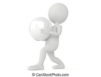 σφαίρα , χαρακτήρας , humanoid , κράτημα , 3d