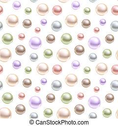 σφαιρικός , αλιεύω μαργαριτάρια , από , διαφορετικός , colors., seamless, μικροβιοφορέας , φόντο.