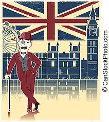 σφαιριστής , λονδίνο , πλοκή , μαύρο , cane., γριά , φόντο , καπέλο , αγγλικός , κρασί , κύριος