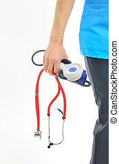 σφυγμόμετρο , στηθοσκόπιο , γιατρός