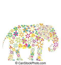 σχήμα , γενική ιδέα , λουλούδια , ελέφαντας