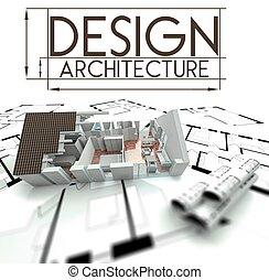 σχεδιάζω , αρχιτεκτονική , εξέχω , από , σπίτι , επάνω , κυανοτυπία