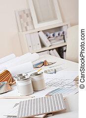 σχεδιαστής , γραφείο , χρώμα , βάφω , εσωτερικός , δείγμα ...