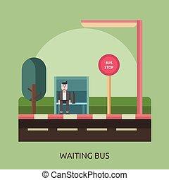 σχετικός με την σύλληψη ή αντίληψη , λεωφορείο , αναμονή , σχεδιάζω , εικόνα
