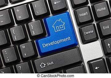 σχετικός με την σύλληψη ή αντίληψη , πληκτρολόγιο , - , ανάπτυξη , (blue, κλειδί , με , σπίτι , symbol)