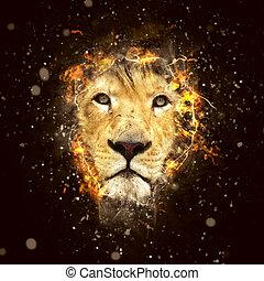 σχετικός με την σύλληψη ή αντίληψη , πορτραίτο , λιοντάρι