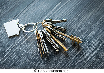 σχηματισμένος , κλειδιά , σπίτι , ξύλινος , κλειδί , τραπέζι , δακτυλίδι , μπουκέτο