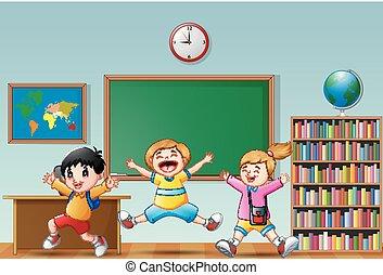 σχολική αίθουσα , αγέλη ιχθύων αστειεύομαι , αγνοώ , γελοιογραφία , ευτυχισμένος