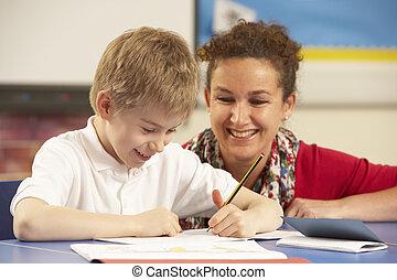 σχολική αίθουσα , εξεζητημένος , δασκάλα , μαθητής