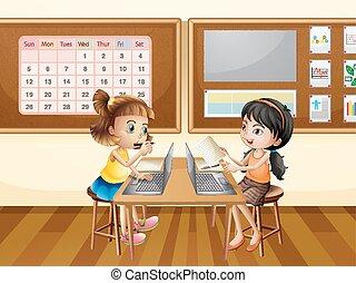 σχολική αίθουσα , ηλεκτρονικός υπολογιστής , δεσποινάριο , δυο , εργαζόμενος