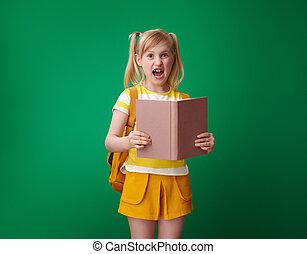 σχολικό βιβλίο , αγίνωτος φόντο , κορίτσι , ανοίγω , ενόχλησα