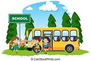 σχολικό λεοφωρείο , ευτυχισμένος , παιδιά , πάρκο