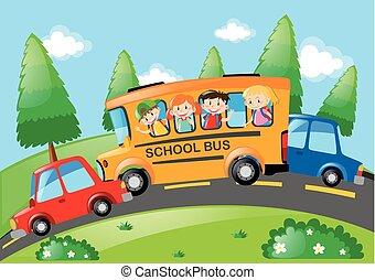 σχολικό λεοφωρείο , ιππασία , δρόμοs , παιδιά , σκηνή